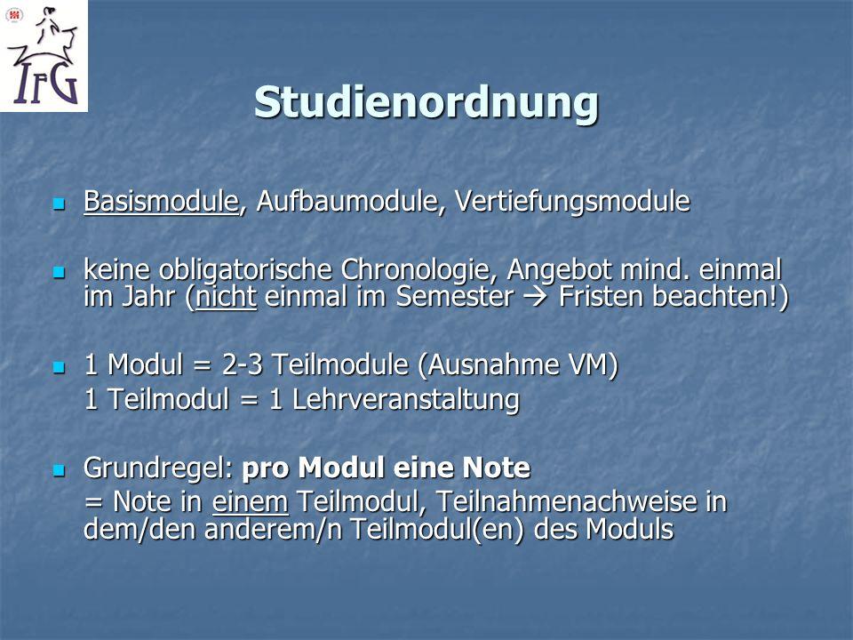 Studienordnung Basismodule, Aufbaumodule, Vertiefungsmodule