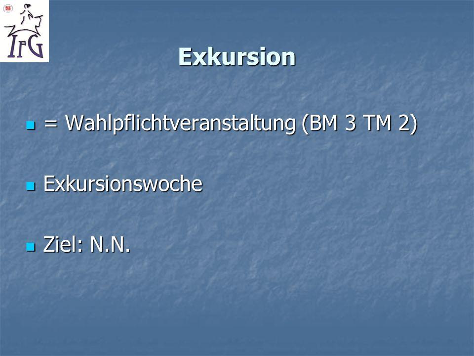 Exkursion = Wahlpflichtveranstaltung (BM 3 TM 2) Exkursionswoche