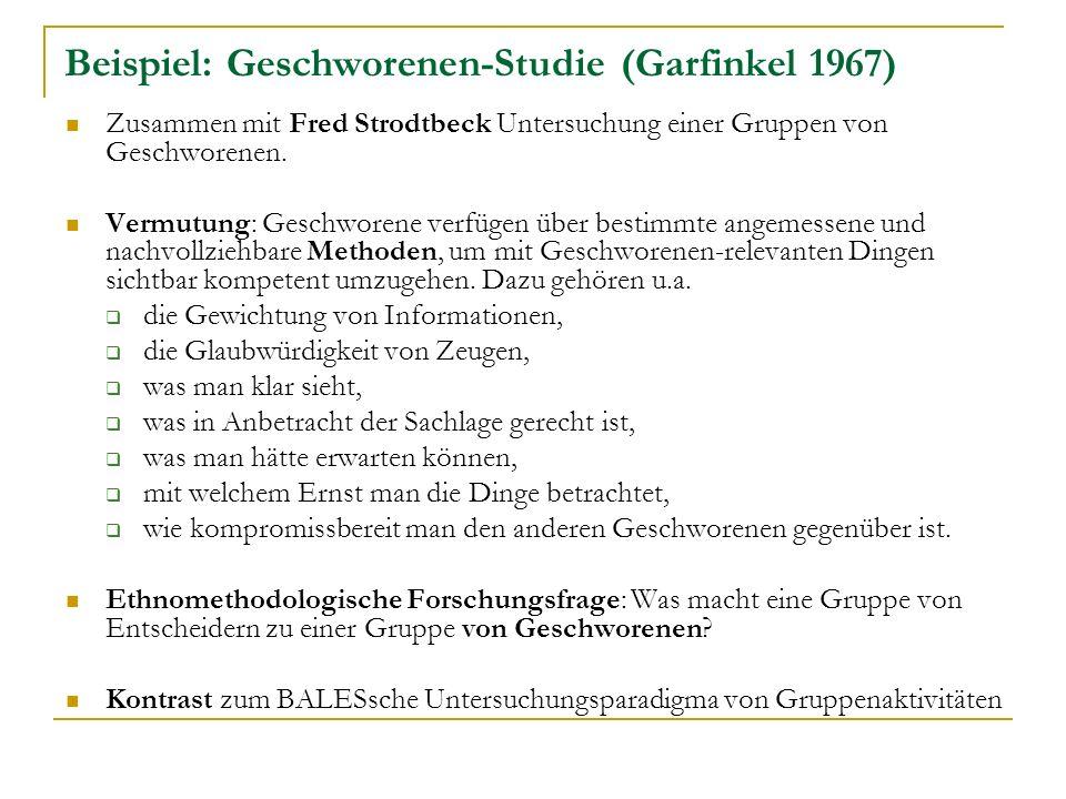 Beispiel: Geschworenen-Studie (Garfinkel 1967)