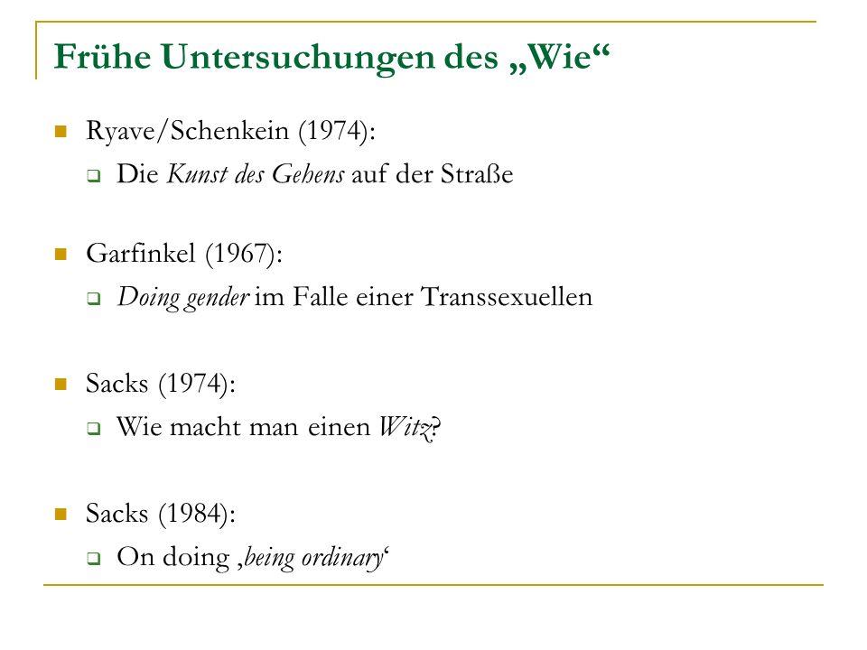"""Frühe Untersuchungen des """"Wie"""
