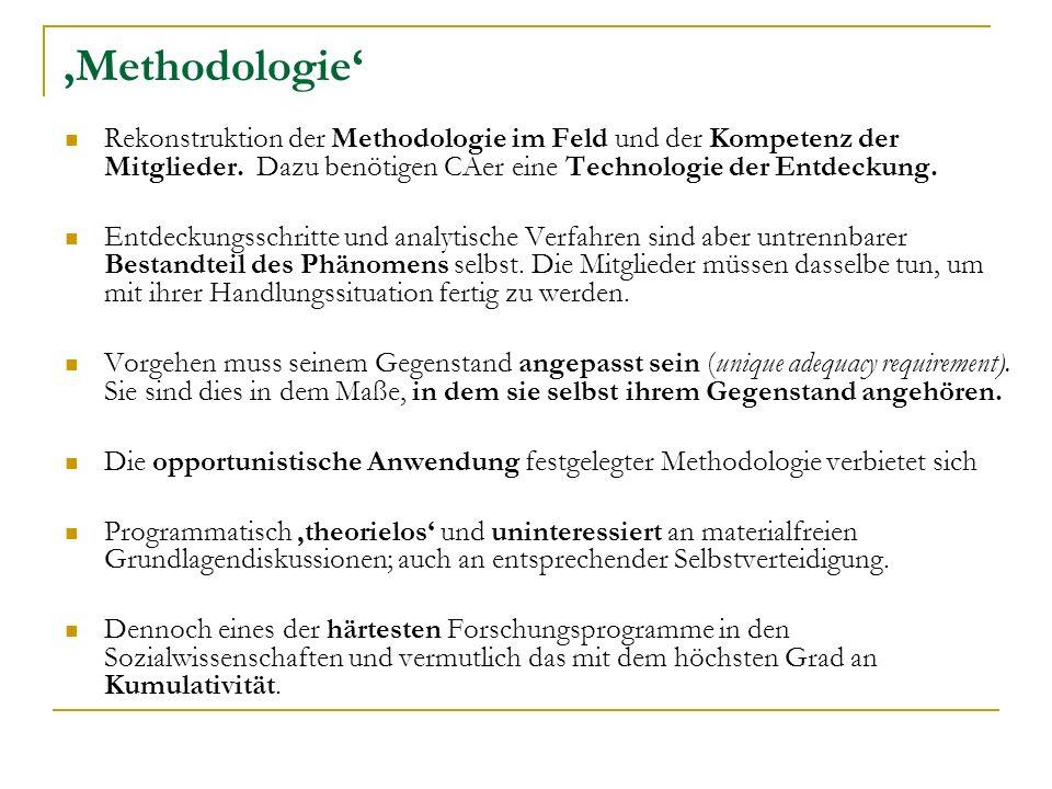 'Methodologie' Rekonstruktion der Methodologie im Feld und der Kompetenz der Mitglieder. Dazu benötigen CAer eine Technologie der Entdeckung.