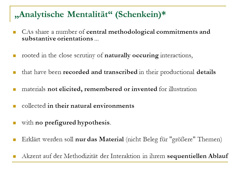 """""""Analytische Mentalität (Schenkein)*"""