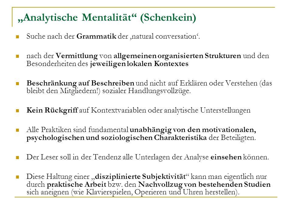 """""""Analytische Mentalität (Schenkein)"""