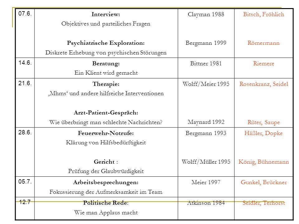 Objektives und parteiliches Fragen Psychiatrische Exploration: