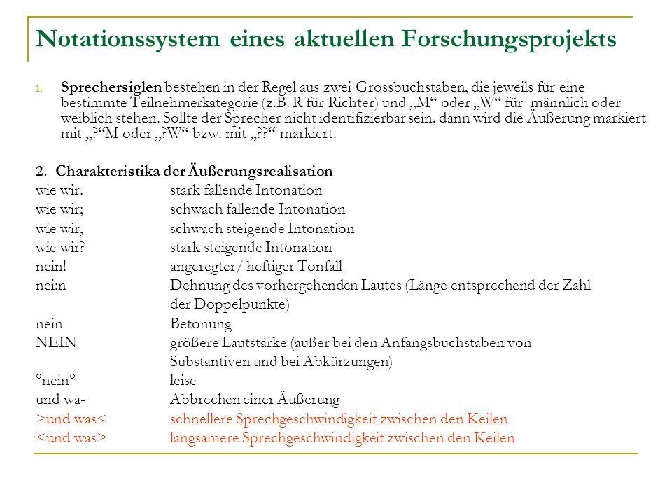 Notationssystem eines aktuellen Forschungsprojekts