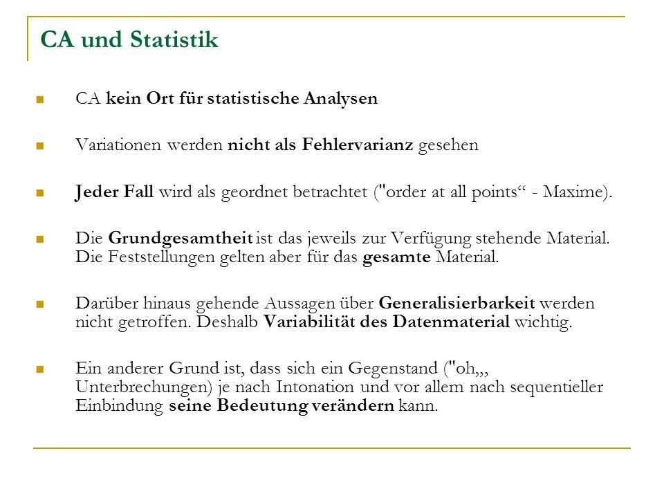 CA und Statistik CA kein Ort für statistische Analysen