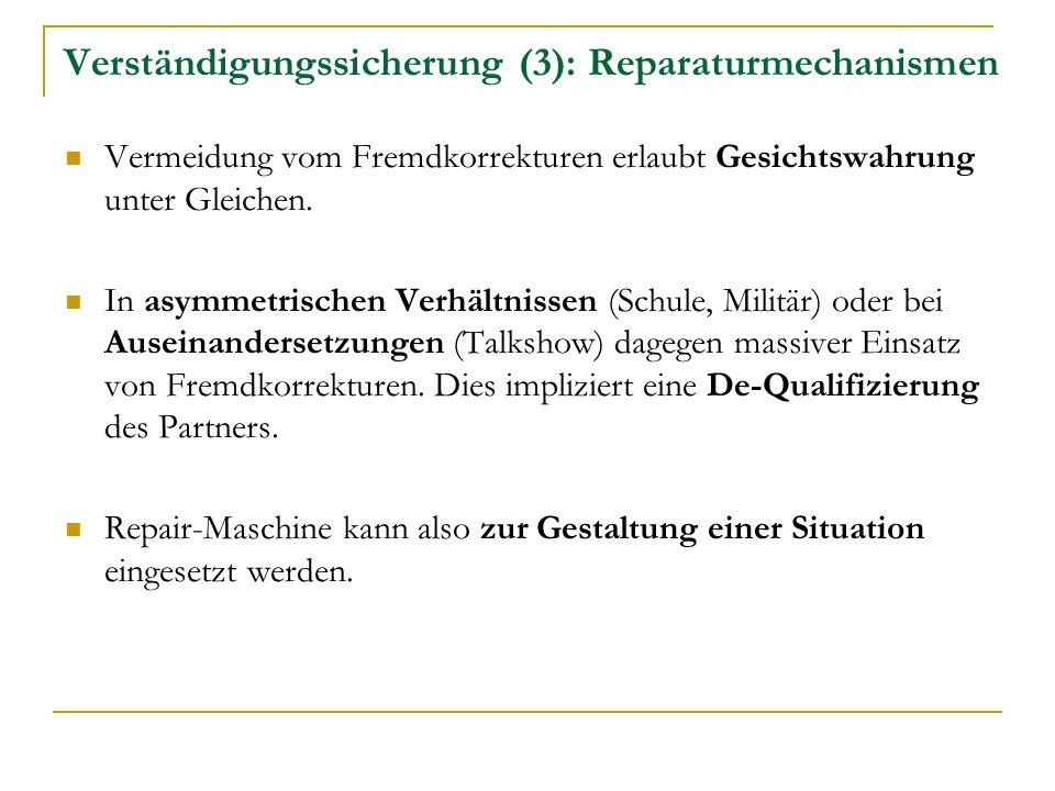 Verständigungssicherung (3): Reparaturmechanismen