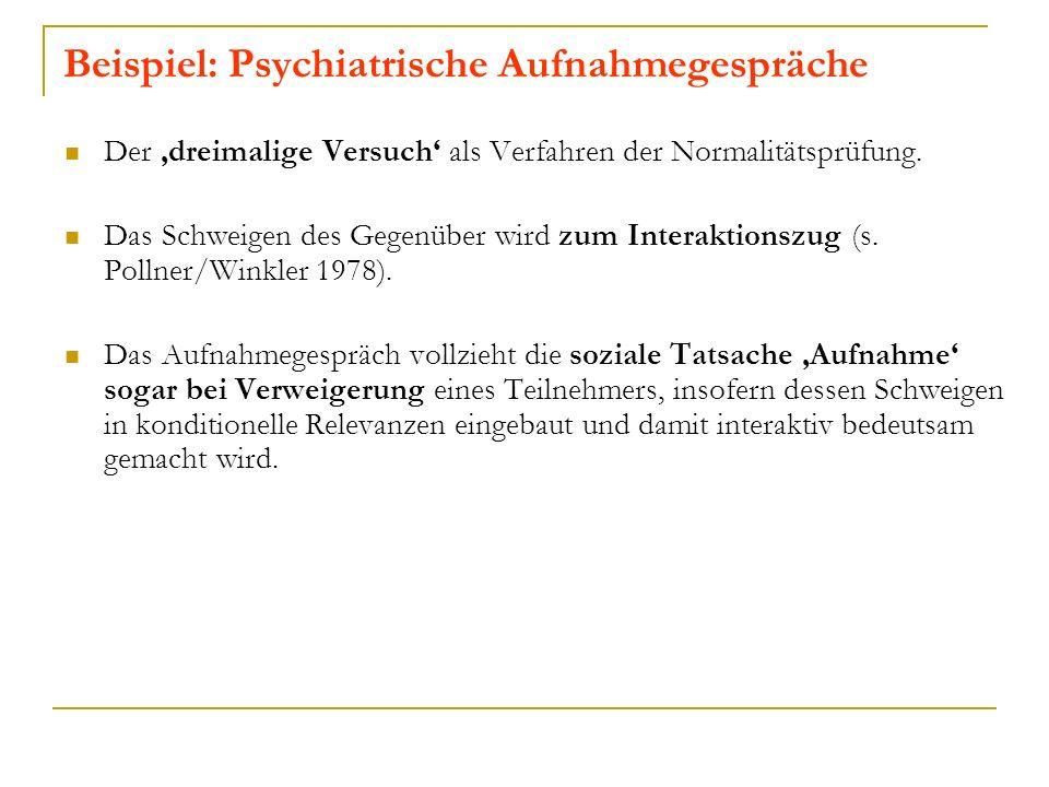 Beispiel: Psychiatrische Aufnahmegespräche