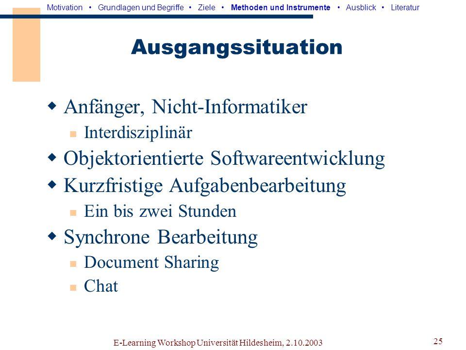 Anfänger, Nicht-Informatiker Objektorientierte Softwareentwicklung