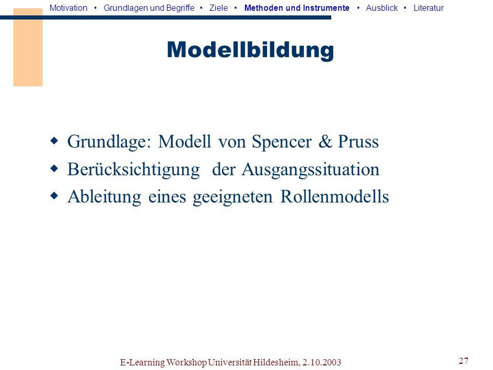 Modellbildung Grundlage: Modell von Spencer & Pruss