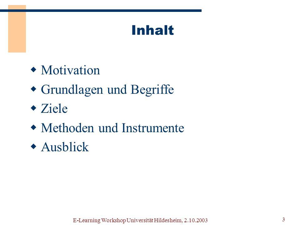 Grundlagen und Begriffe Ziele Methoden und Instrumente Ausblick