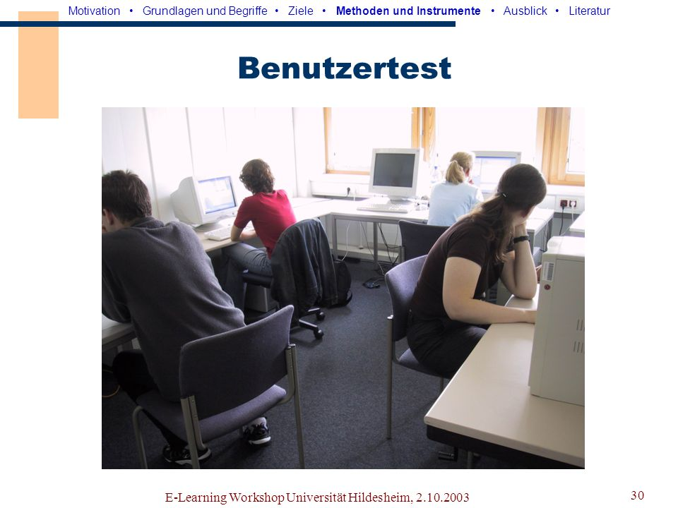 Benutzertest E-Learning Workshop Universität Hildesheim, 2.10.2003