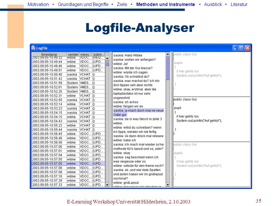 Logfile-Analyser E-Learning Workshop Universität Hildesheim, 2.10.2003