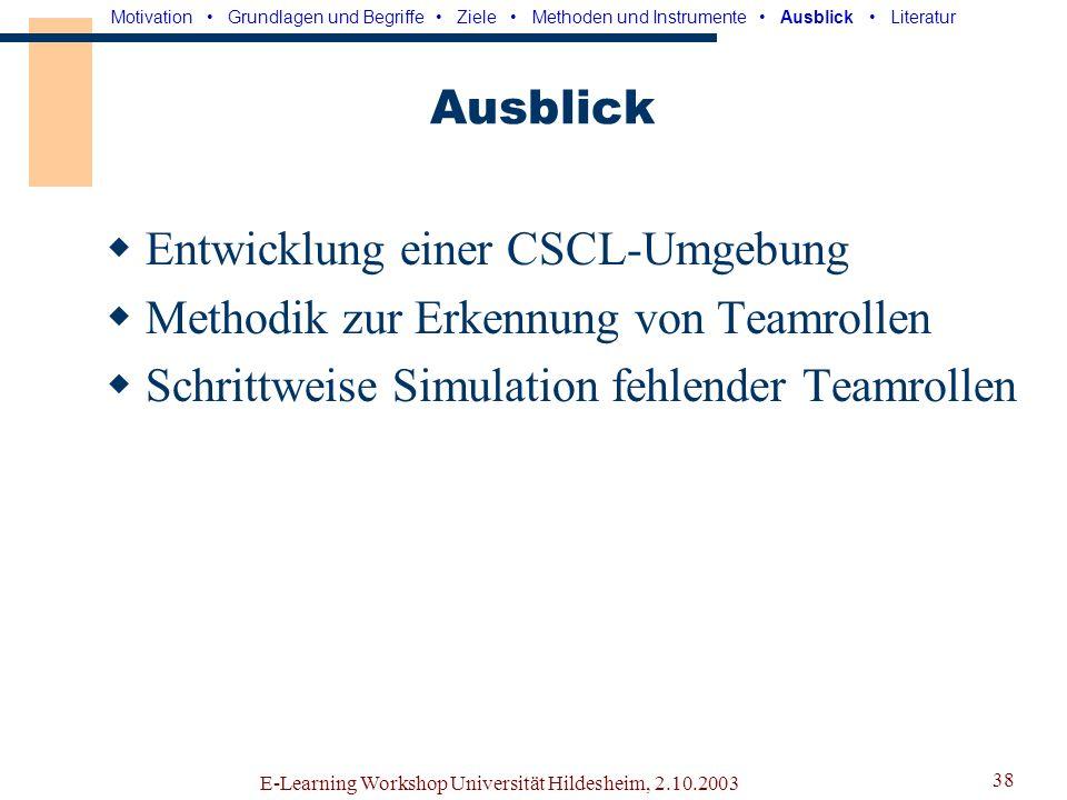 Entwicklung einer CSCL-Umgebung Methodik zur Erkennung von Teamrollen