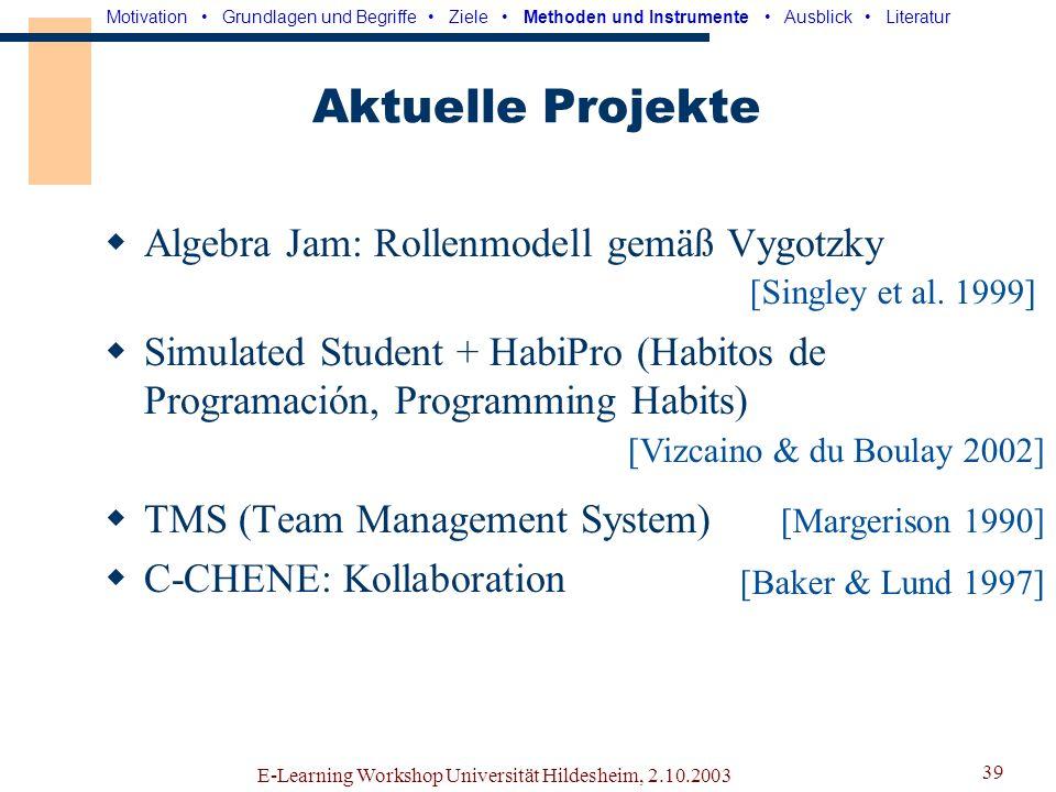 Aktuelle Projekte Algebra Jam: Rollenmodell gemäß Vygotzky