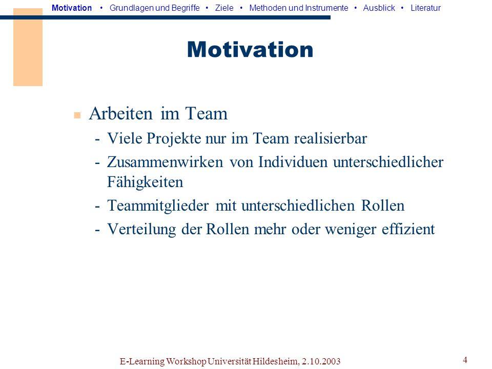 Motivation Arbeiten im Team Viele Projekte nur im Team realisierbar