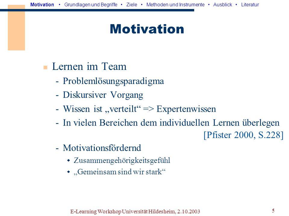 Motivation Lernen im Team Problemlösungsparadigma Diskursiver Vorgang