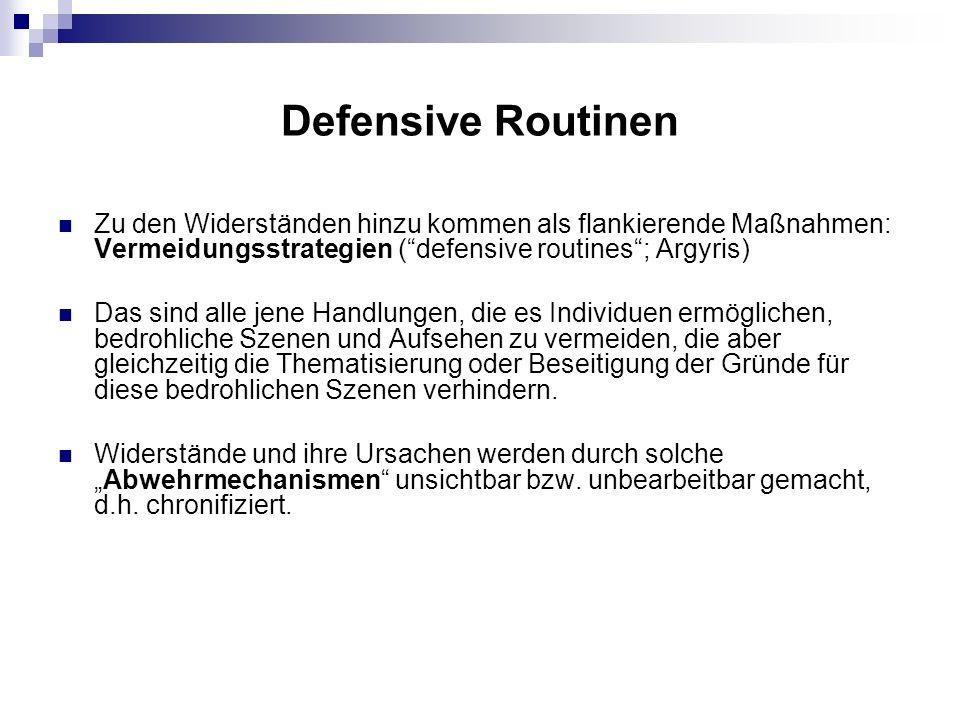 Defensive Routinen Zu den Widerständen hinzu kommen als flankierende Maßnahmen: Vermeidungsstrategien ( defensive routines ; Argyris)
