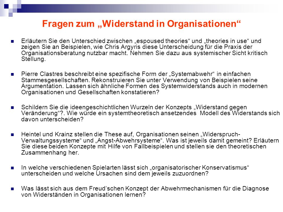 """Fragen zum """"Widerstand in Organisationen"""