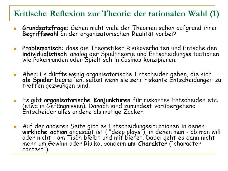 Kritische Reflexion zur Theorie der rationalen Wahl (1)