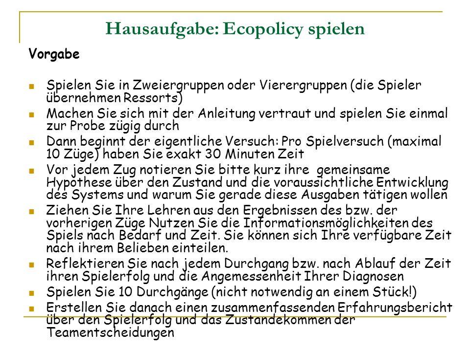 Hausaufgabe: Ecopolicy spielen
