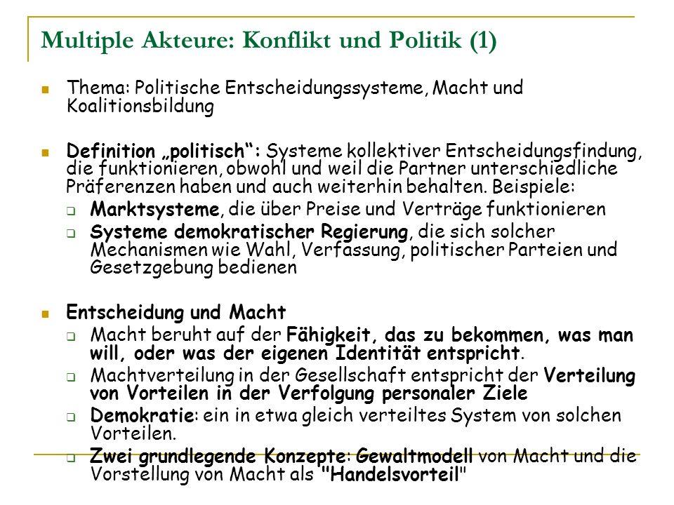 Multiple Akteure: Konflikt und Politik (1)