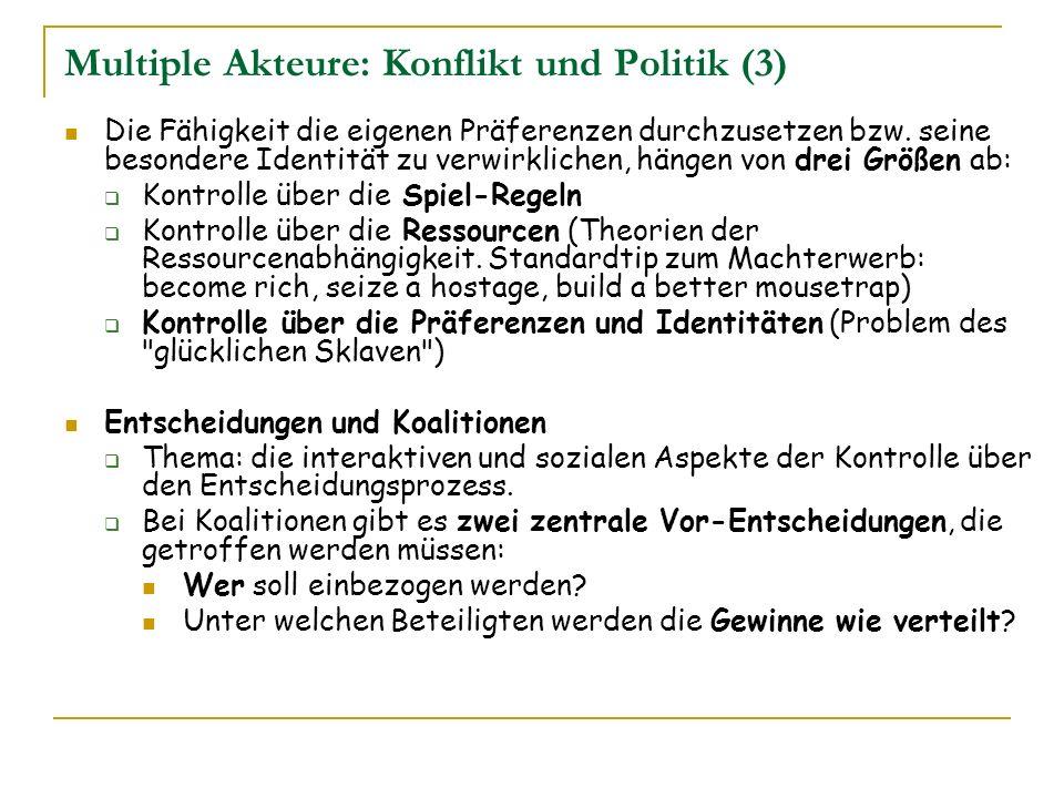 Multiple Akteure: Konflikt und Politik (3)