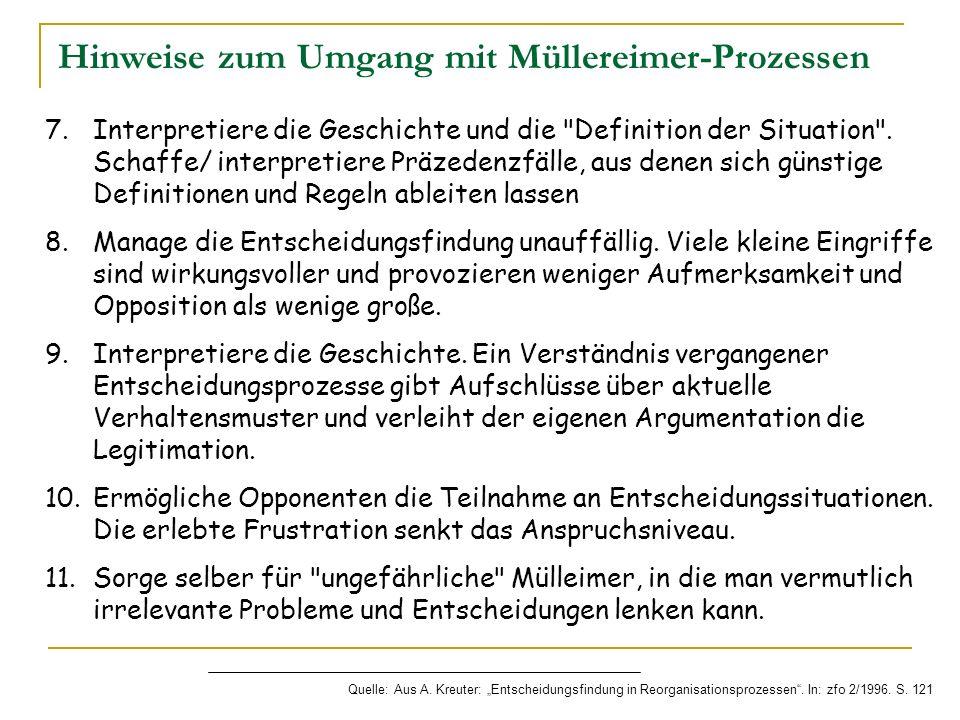Hinweise zum Umgang mit Müllereimer-Prozessen