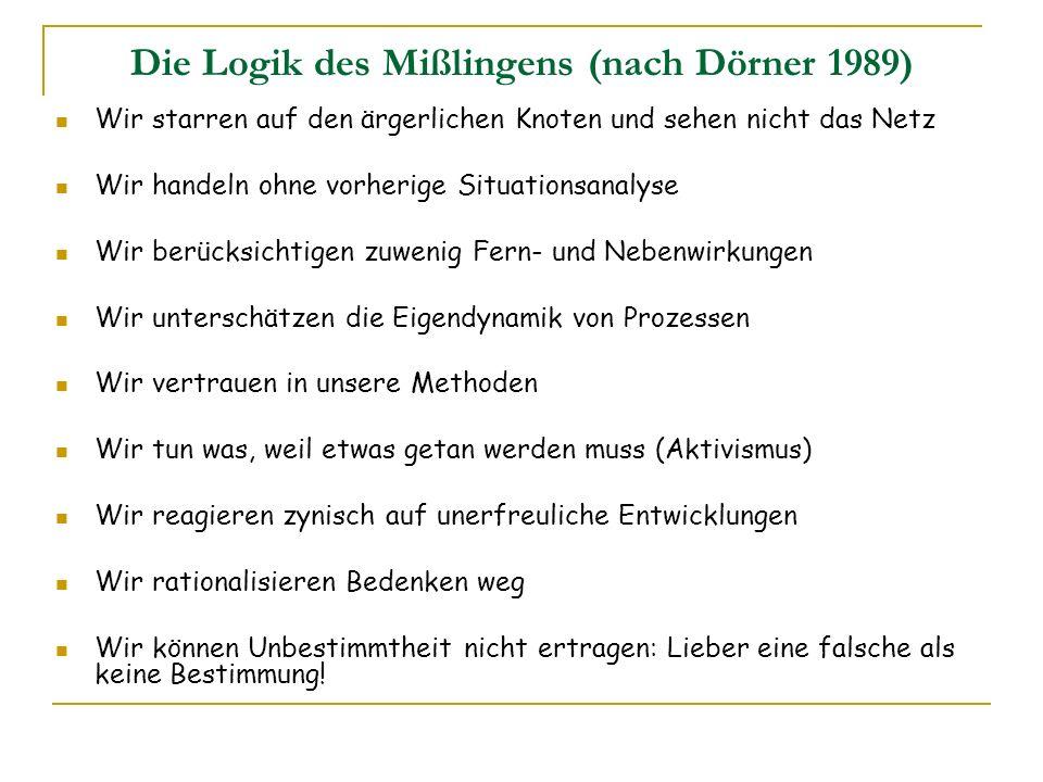 Die Logik des Mißlingens (nach Dörner 1989)