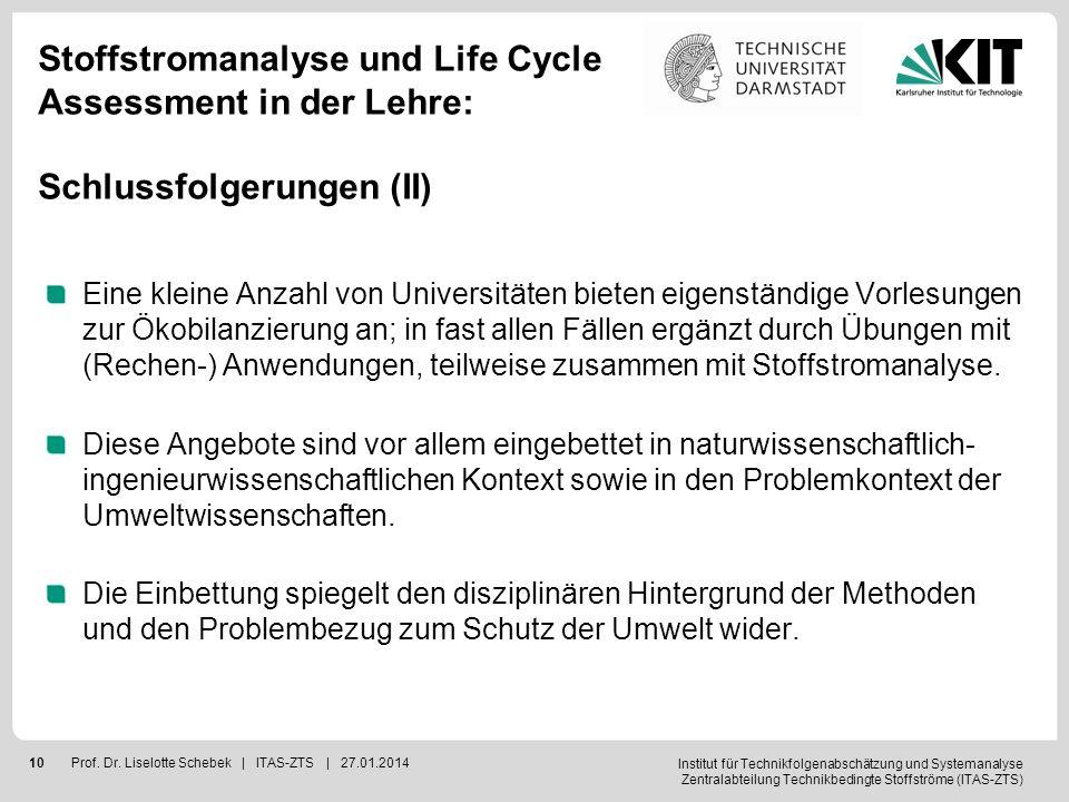Stoffstromanalyse und Life Cycle Assessment in der Lehre: Schlussfolgerungen (II)