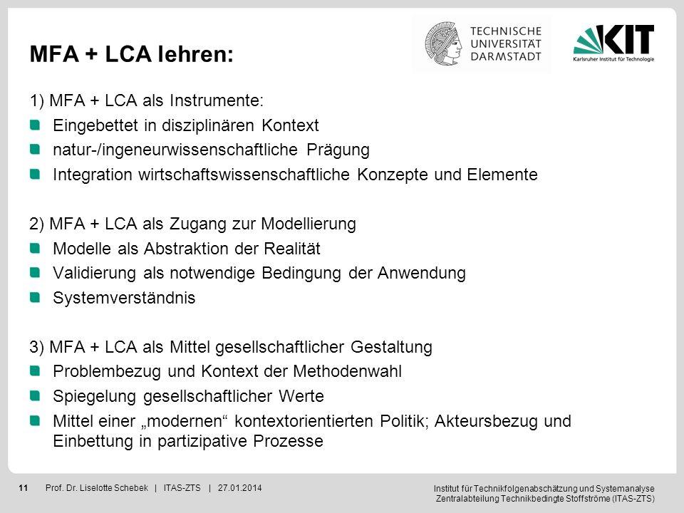 MFA + LCA lehren: 1) MFA + LCA als Instrumente:
