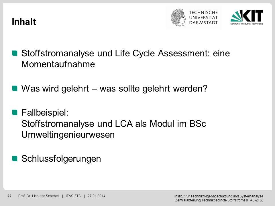 Inhalt Stoffstromanalyse und Life Cycle Assessment: eine Momentaufnahme. Was wird gelehrt – was sollte gelehrt werden