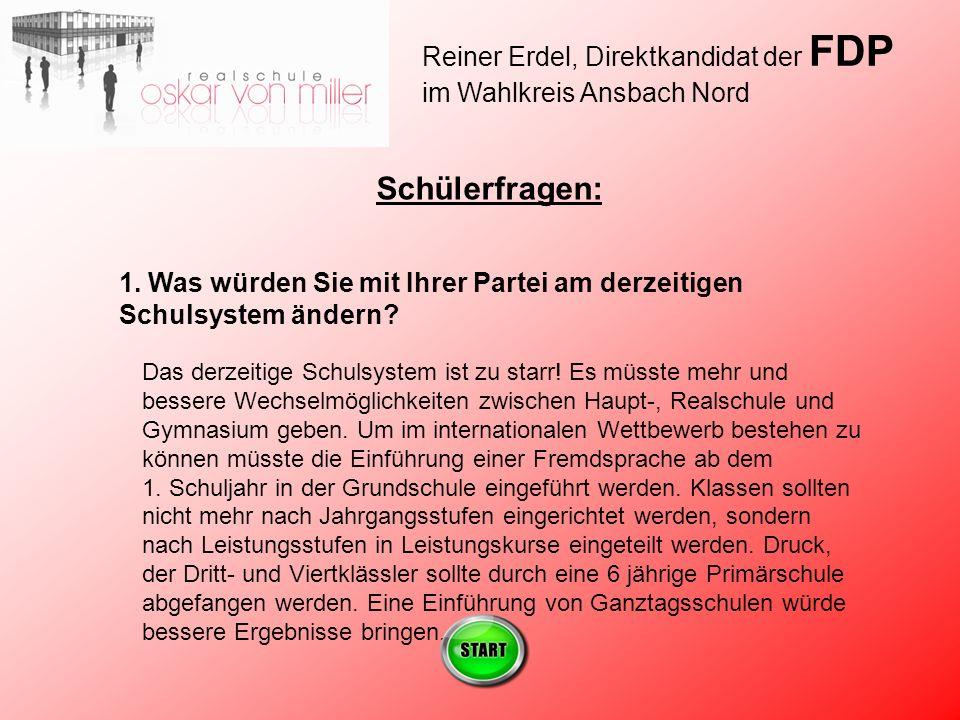 Reiner Erdel, Direktkandidat der FDP im Wahlkreis Ansbach Nord