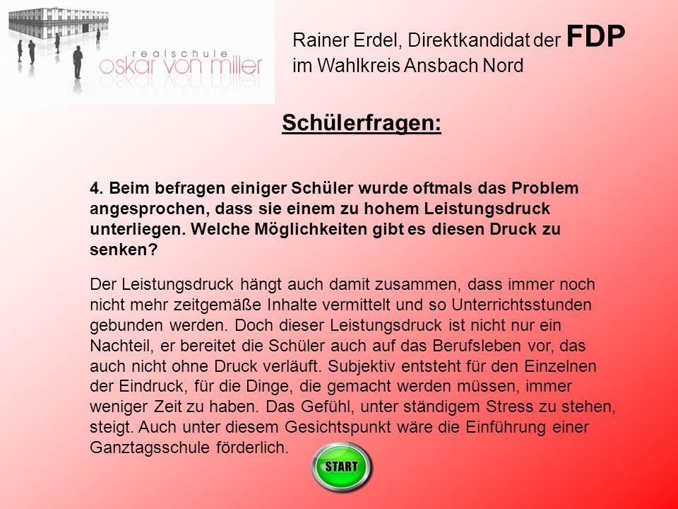 Rainer Erdel, Direktkandidat der FDP im Wahlkreis Ansbach Nord