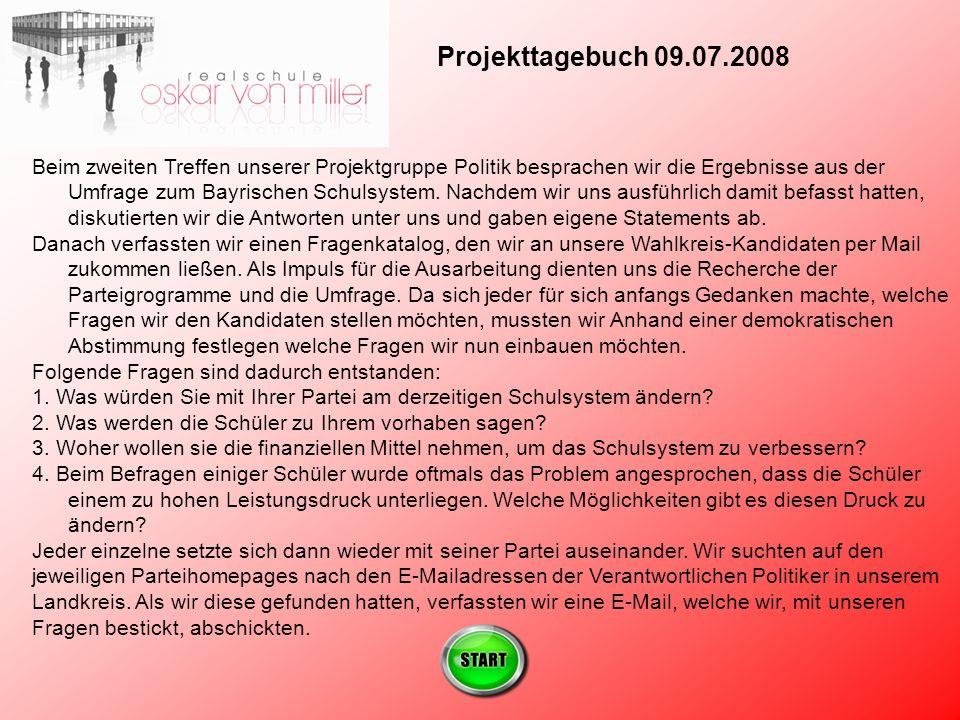 Projekttagebuch 09.07.2008