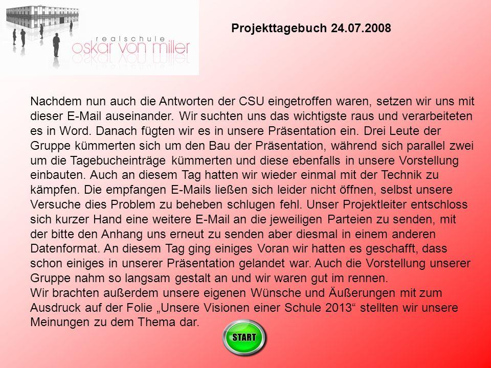 Projekttagebuch 24.07.2008