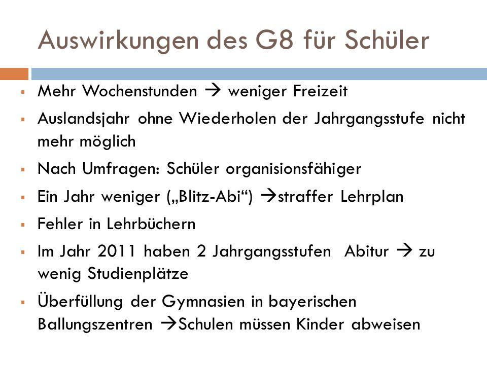 Auswirkungen des G8 für Schüler