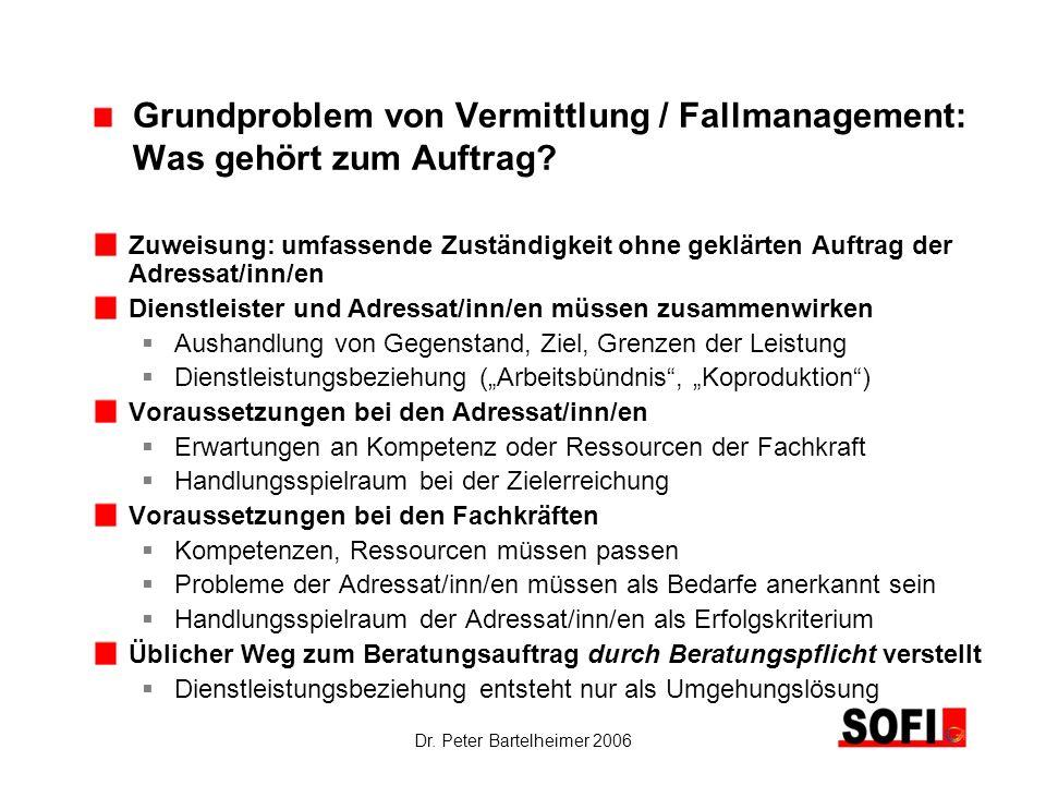 Grundproblem von Vermittlung / Fallmanagement: Was gehört zum Auftrag