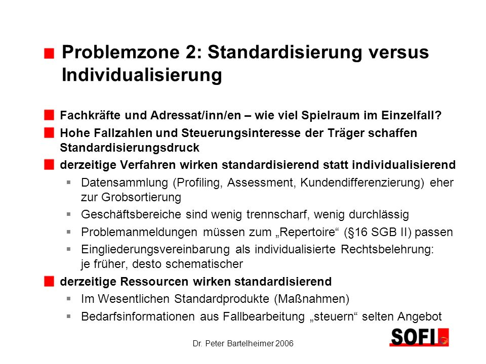 Problemzone 2: Standardisierung versus Individualisierung