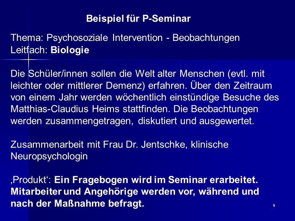 Beispiel für P-Seminar