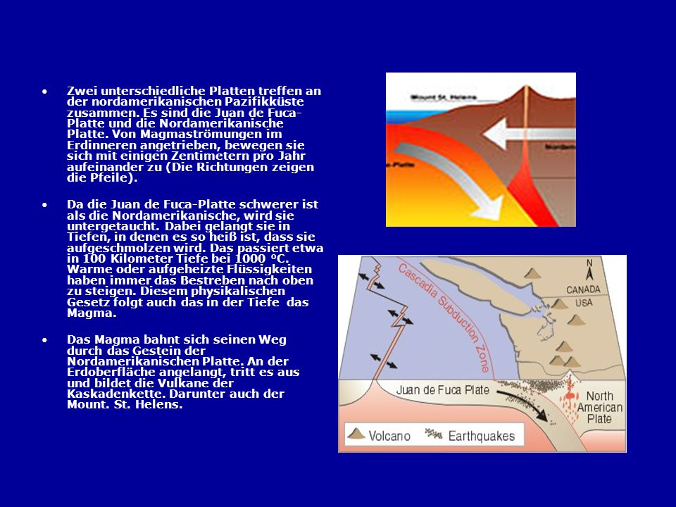 Zwei unterschiedliche Platten treffen an der nordamerikanischen Pazifikküste zusammen. Es sind die Juan de Fuca-Platte und die Nordamerikanische Platte. Von Magmaströmungen im Erdinneren angetrieben, bewegen sie sich mit einigen Zentimetern pro Jahr aufeinander zu (Die Richtungen zeigen die Pfeile).