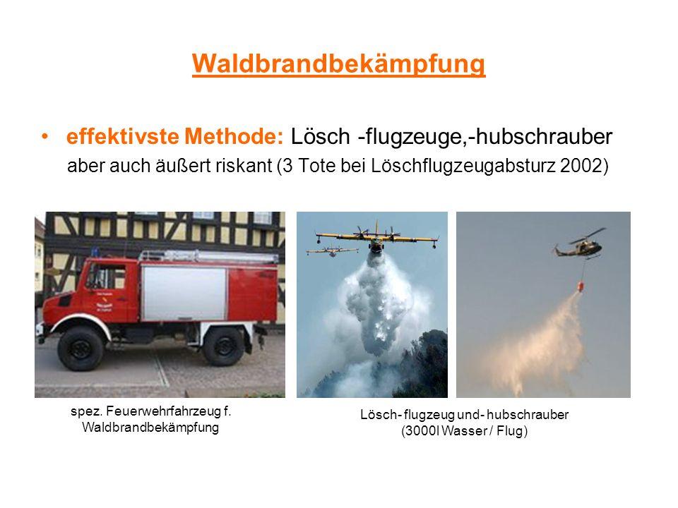 Waldbrandbekämpfung effektivste Methode: Lösch -flugzeuge,-hubschrauber. aber auch äußert riskant (3 Tote bei Löschflugzeugabsturz 2002)