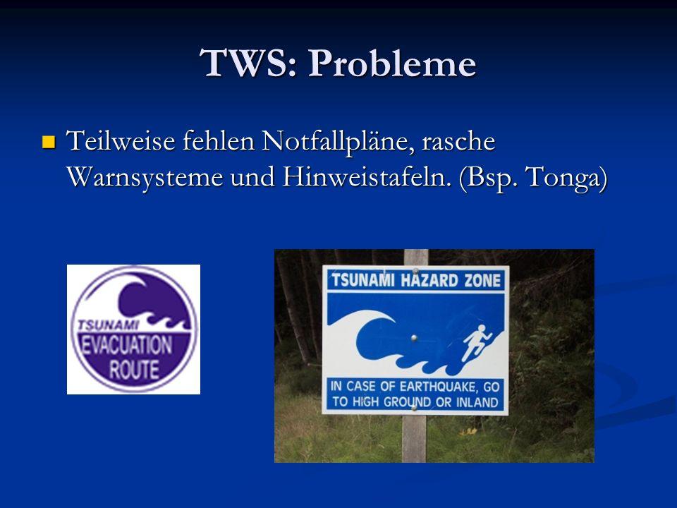 TWS: Probleme Teilweise fehlen Notfallpläne, rasche Warnsysteme und Hinweistafeln. (Bsp. Tonga)