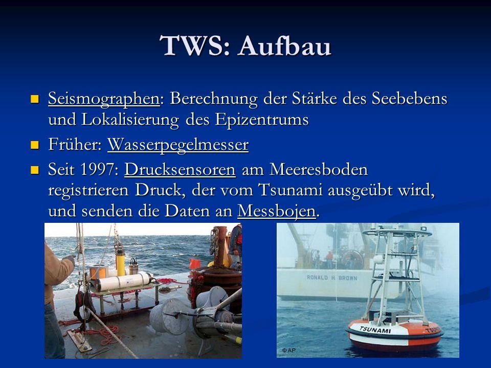 TWS: Aufbau Seismographen: Berechnung der Stärke des Seebebens und Lokalisierung des Epizentrums. Früher: Wasserpegelmesser.