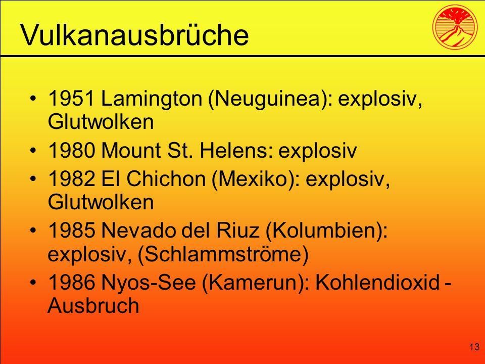 Vulkanausbrüche 1951 Lamington (Neuguinea): explosiv, Glutwolken
