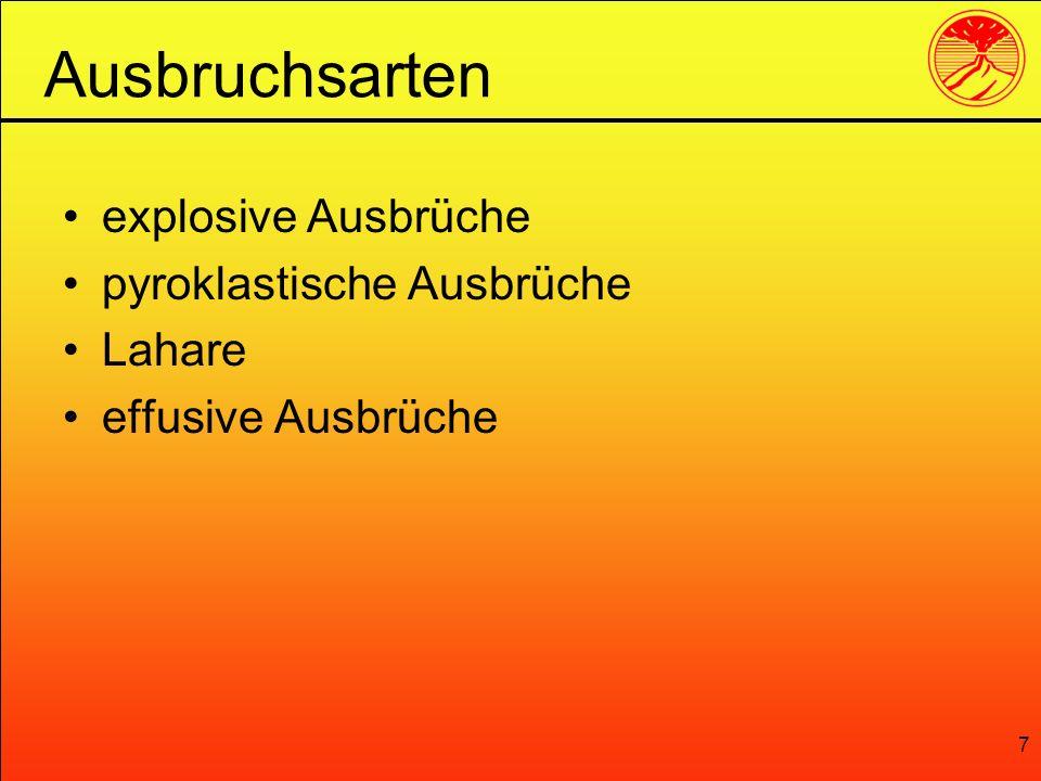 Ausbruchsarten explosive Ausbrüche pyroklastische Ausbrüche Lahare