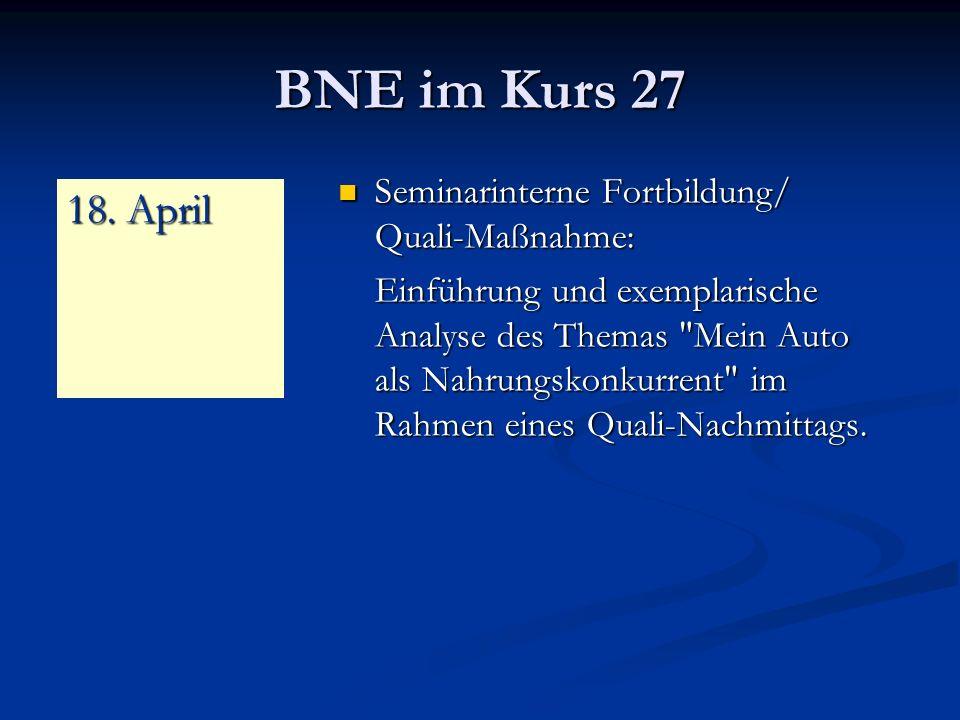 BNE im Kurs 27 18. April Seminarinterne Fortbildung/ Quali-Maßnahme: