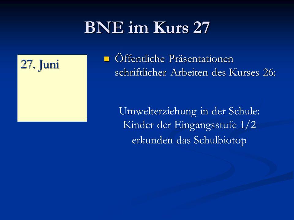 BNE im Kurs 27 Öffentliche Präsentationen schriftlicher Arbeiten des Kurses 26: 27. Juni.