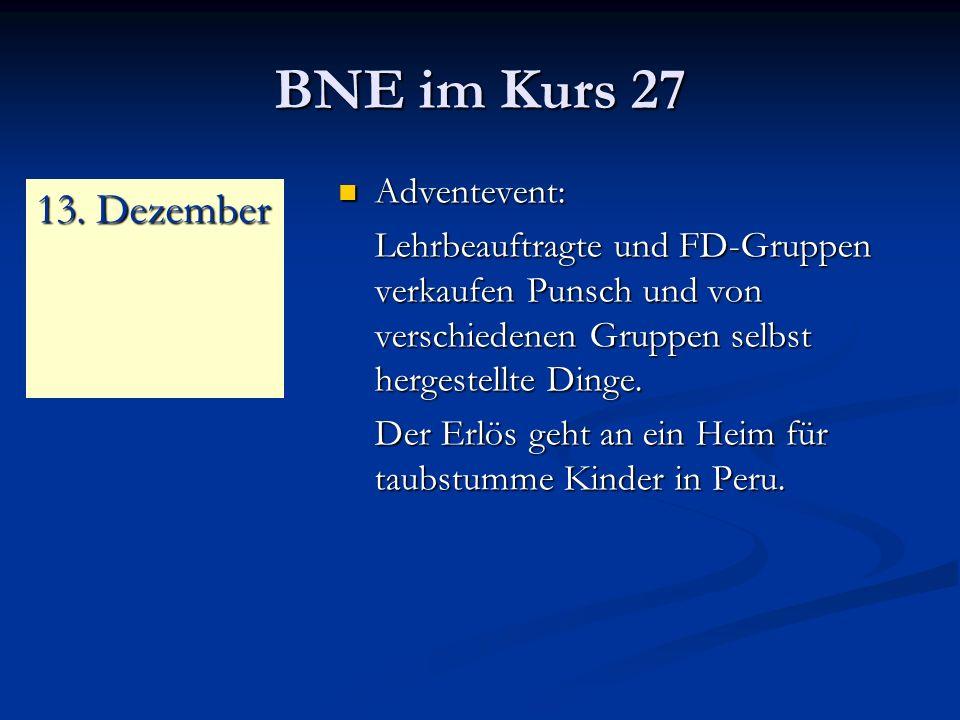 BNE im Kurs 27 13. Dezember Adventevent:
