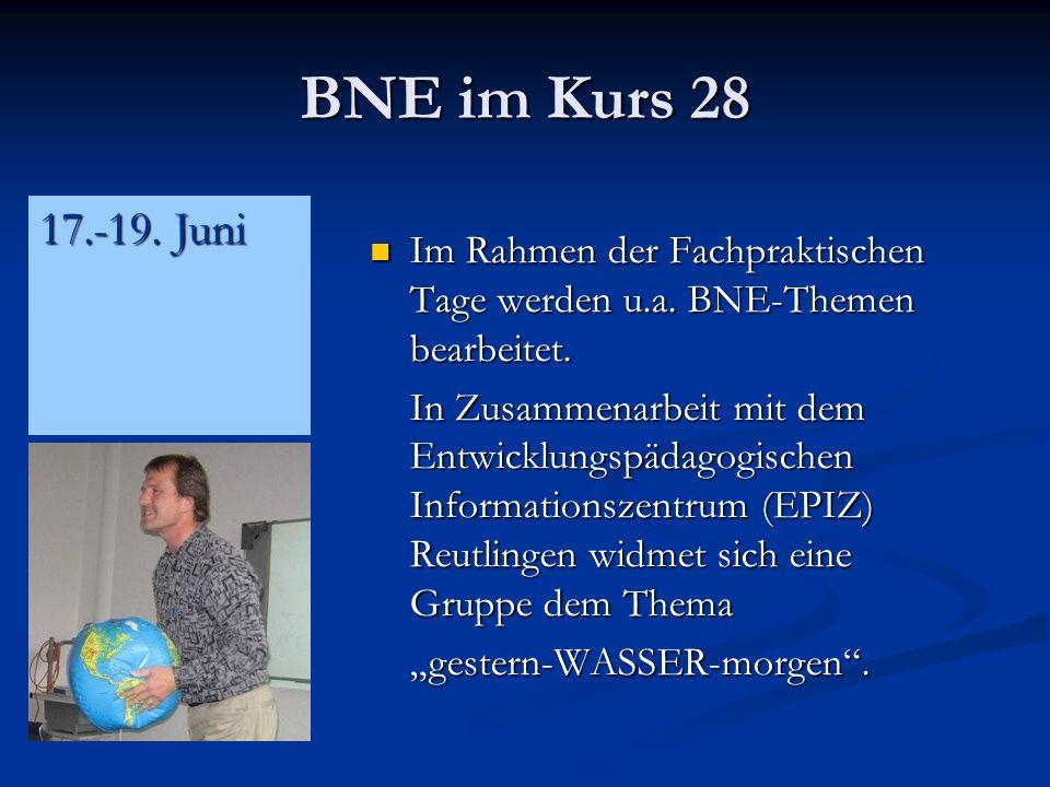 BNE im Kurs 28 17.-19. Juni. Im Rahmen der Fachpraktischen Tage werden u.a. BNE-Themen bearbeitet.
